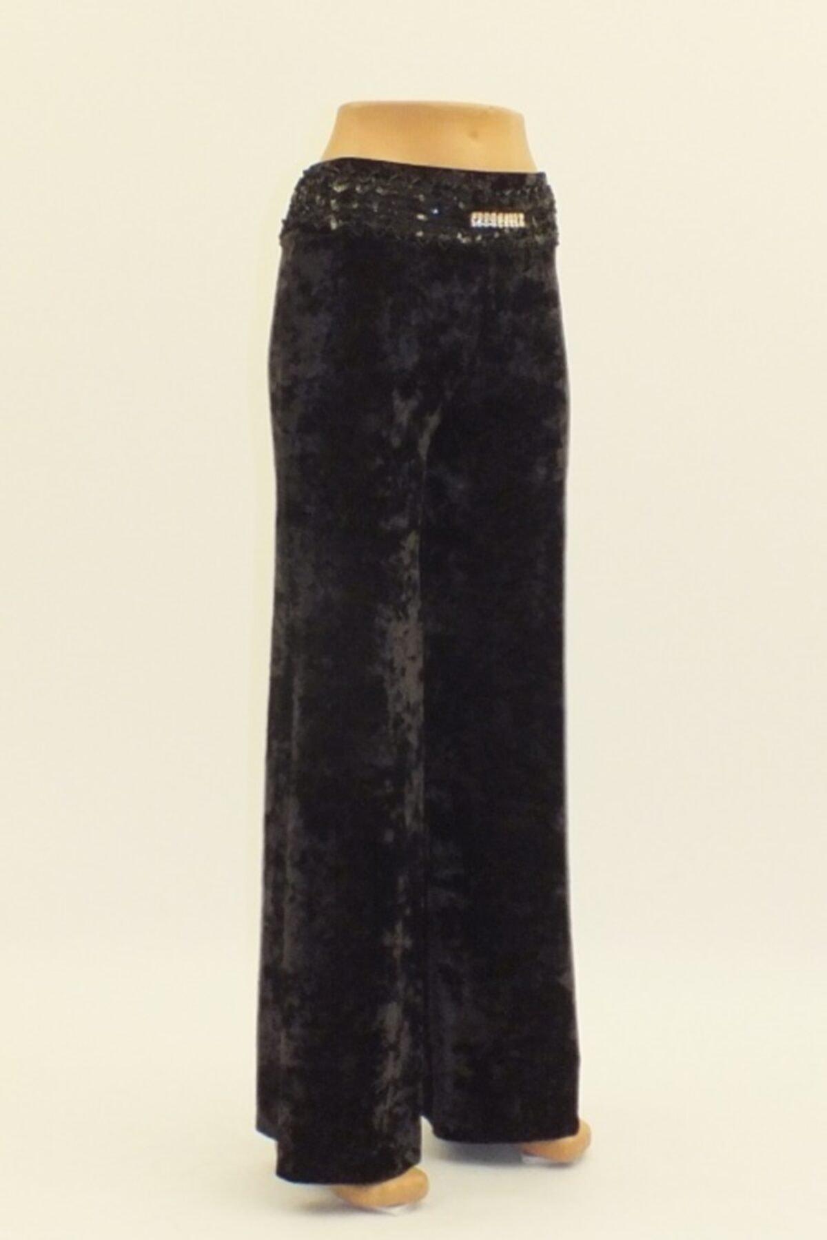 Otto Kadın Siyah Kadife Geniş Paça Yüksek Bel Pantolon 2