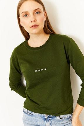 Lafaba Kadın Yeşil Reserved Baskılı Sweatshirt