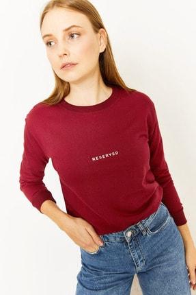 Lafaba Kadın Bordo Reserved Baskılı Sweatshirt