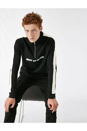 Koton Erkek Siyah Yüksek Yaka Seritli Yazili Baskili Fermuarli Sweatshirt