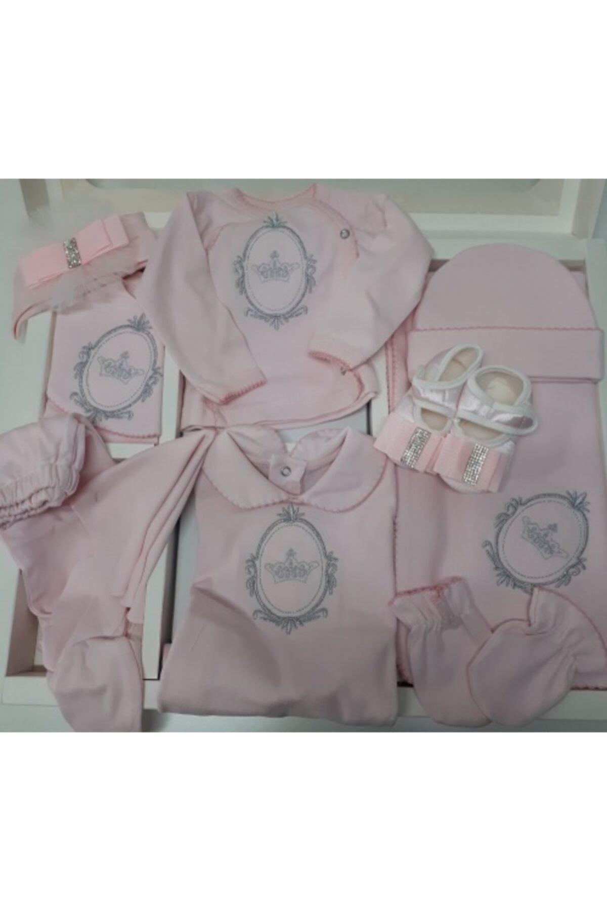 Eda Baby Kız Bebek Pembe 10'lu Hastane Çıkışı Zıbın Seti 1