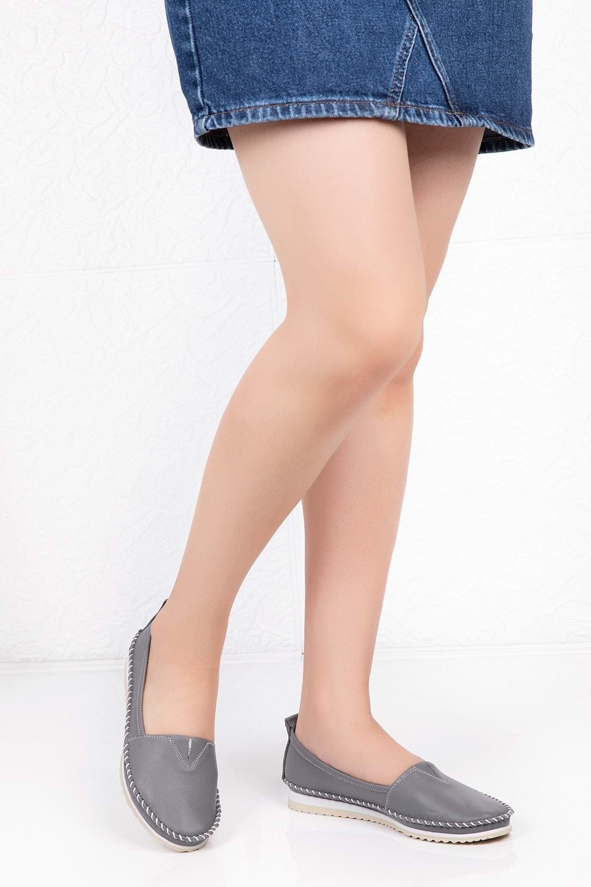 Gondol Kadın Gri Hakiki Deri Anatomik Taban Günlük Ayakkabı 39 Grs.20 1
