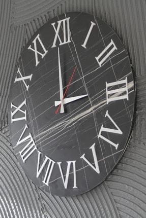 bluecape 50cm Siyah Mermer Desenli Krom Antik Roma Rakamlı Duvar Saati