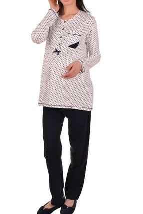 Nicoletta Kadın Ekru Hamile Uzun Kollu Pijama Takımı