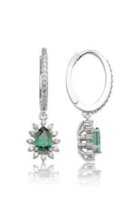Valori Jewels 0.66 Karat Swarovski Zirkon Yeşil Damla Taşlı, Gümüş Sallantılı Küpe