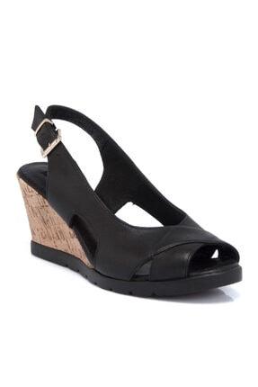Tergan Siyah Deri Kadın Sandalet 64426a23