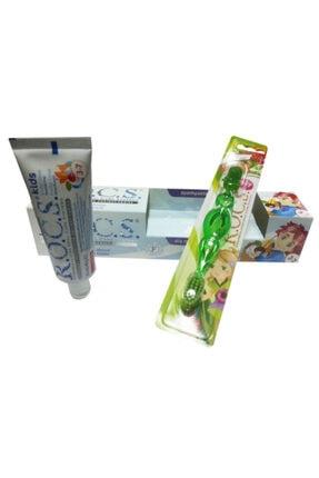R.O.C.S. Kids 3-7 Florürsüz Diş Macunu Ve Diş Fırçası Seti - Yeşil Fırçalı