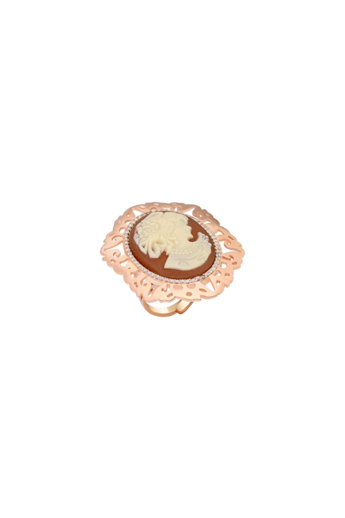 So CHIC... Sentetik Cameo Rose Gold Gümüş Yüzük 1