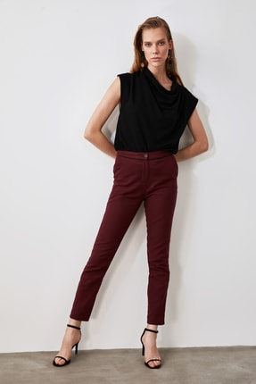TRENDYOLMİLLA Bordo Basic Pantolon TWOAW21PL0503
