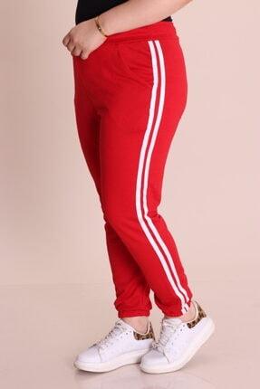 Renkte Kadın Kırmızı Yanları Şeritli Paçası Lastikli Eşofman Altı