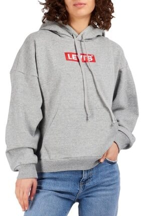 Levi's Kadın Gri Kapüşonlu Sweatshirt