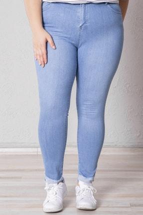 Zafoni Kadın Açık Mavi Paça Püsküllü Enzim Yıkamalı Pantolon