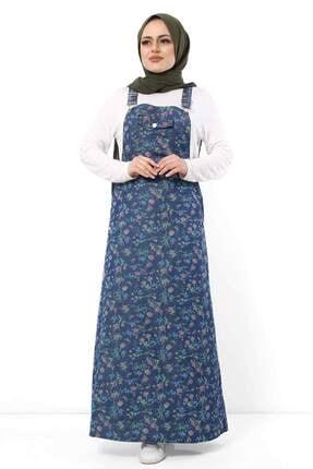 Tesettür Dünyası Kadın Koyu Mavi Renkli Çiçek Baskılı Kot Salopet Tsd8694