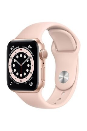 Apple Watch Series 6 Gps 44 Mm Altın Rengi Alüminyum Kasa Ve Kum Pembesi Spor Kordon
