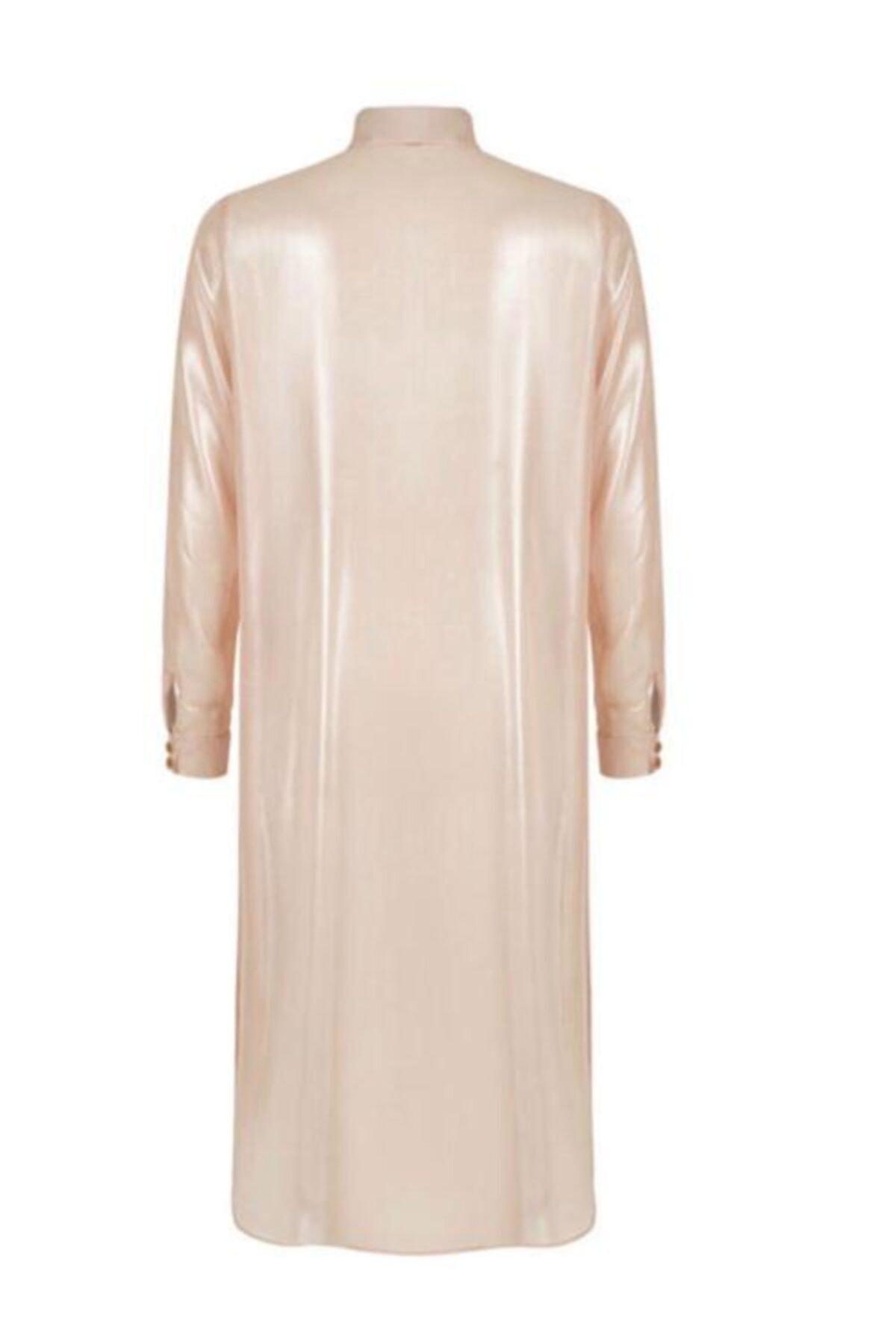 Nocturne Kadın Pembe Metalik Yüzeyli Uzun Gömlek 2