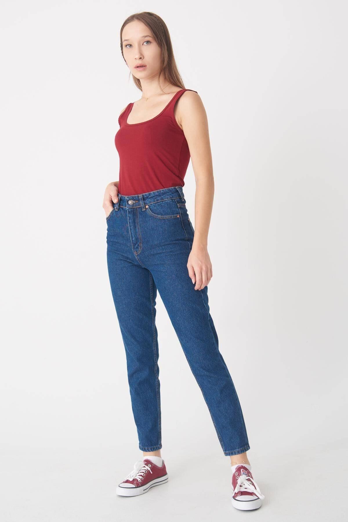 Addax Kadın Koyu Kot Rengi Mom Jean Pantolon Pn3360 - Pnr Adx-0000022490 1