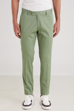 Dufy Yeşil Düz Ribana Örgü Erkek Pantolon - Slım Fıt