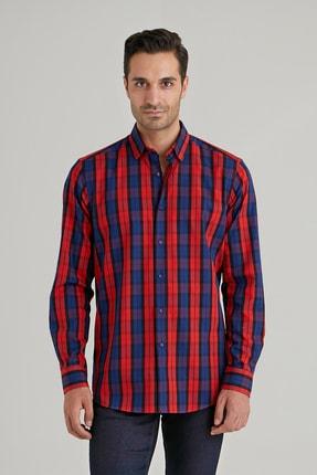 Dufy Kırmızı Lacivert Kareli Pamuklu Erkek Gömlek