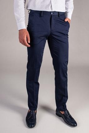 Dufy Lacivert Düz Pamuklu Saten Erkek Pantolon - Regular Fıt