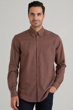Dufy Kiremit Kareli Pamuklu Erkek Gömlek - Slım Fıt