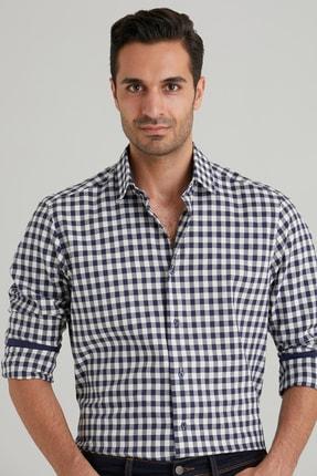 Dufy Lacivert Ekose Pamuklu Erkek Gömlek - Slım Fıt