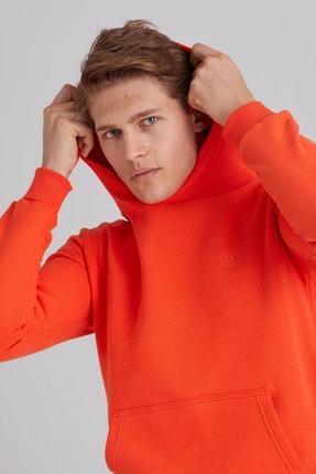 Dufy Erkek Turuncu İçi Polarlı Modern Fıt Kapüşonlu Sweatshirt