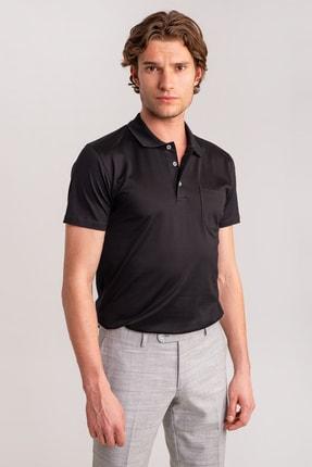 Dufy Erkek Siyah Düz Polo Yaka Merserize Pamuk T-shirt
