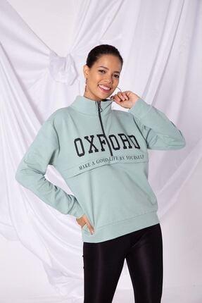 Zafoni Kadın Oxfort Baskılı Yarım Fermuarlı Yeşil Sweat