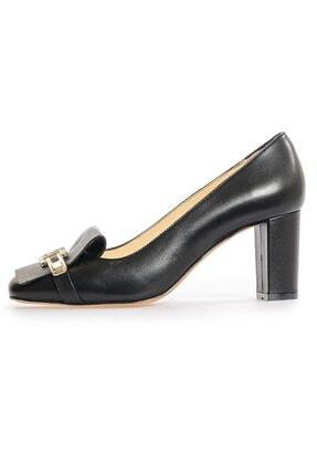 Flower Siyah Deri Ff Tokalı Topuklu Ayakkabı