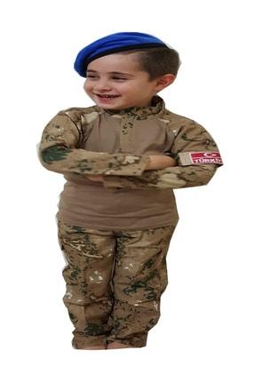 DEHAMODA Erkek Çocuk 3 Parça Mavi Bereli Jandarma Özel Harekat Kombatlı Asker Komando Kostümü