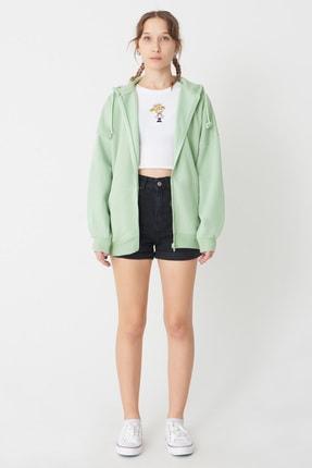 Addax Kadın Mint Kapşonlu Sweatshirt H0725 - İ7 - İ8 ADX-0000020316