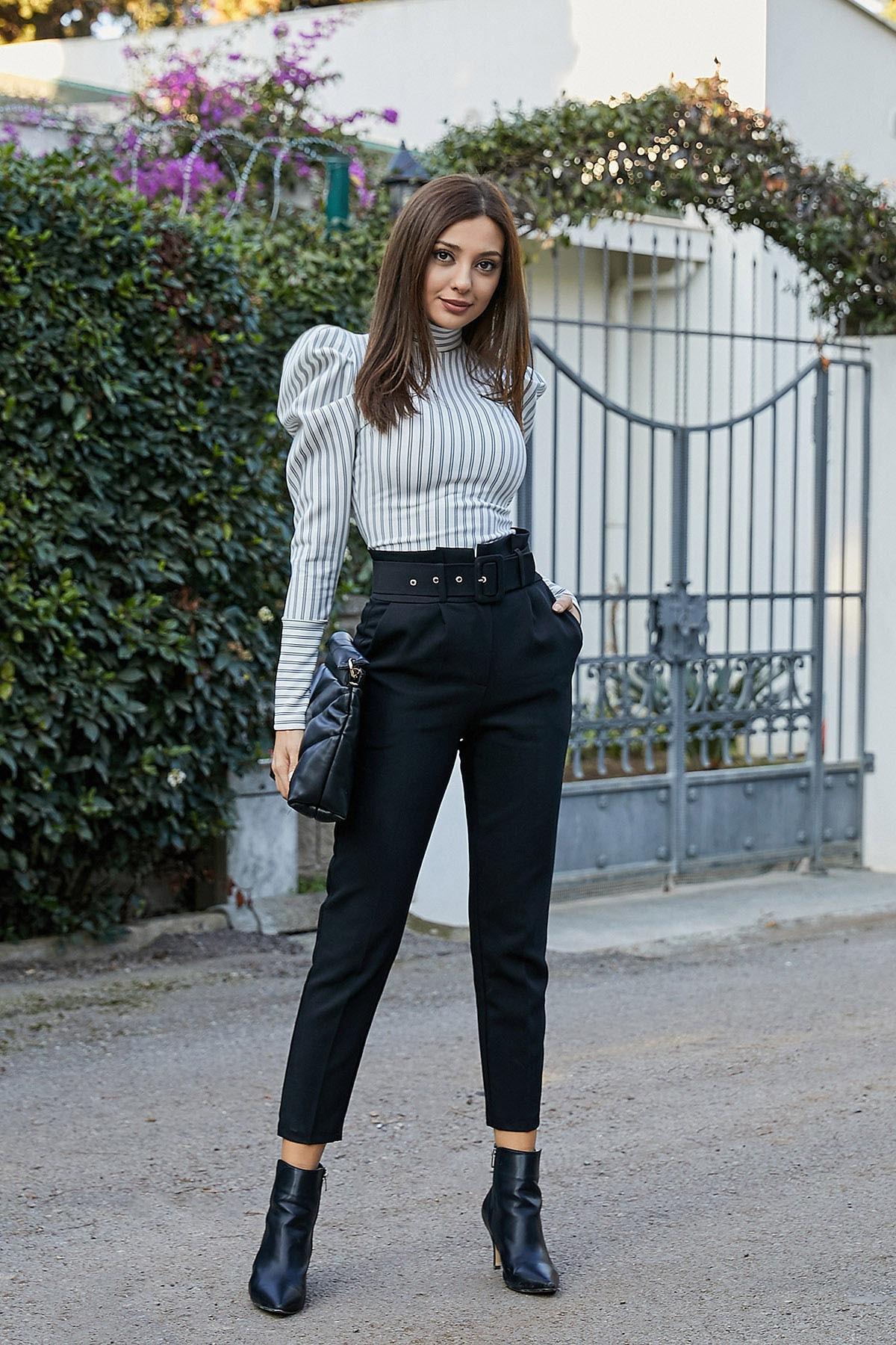 Sateen Kadın Siyah Kemerli Yüksek Bel Cigarette Pantolon 1
