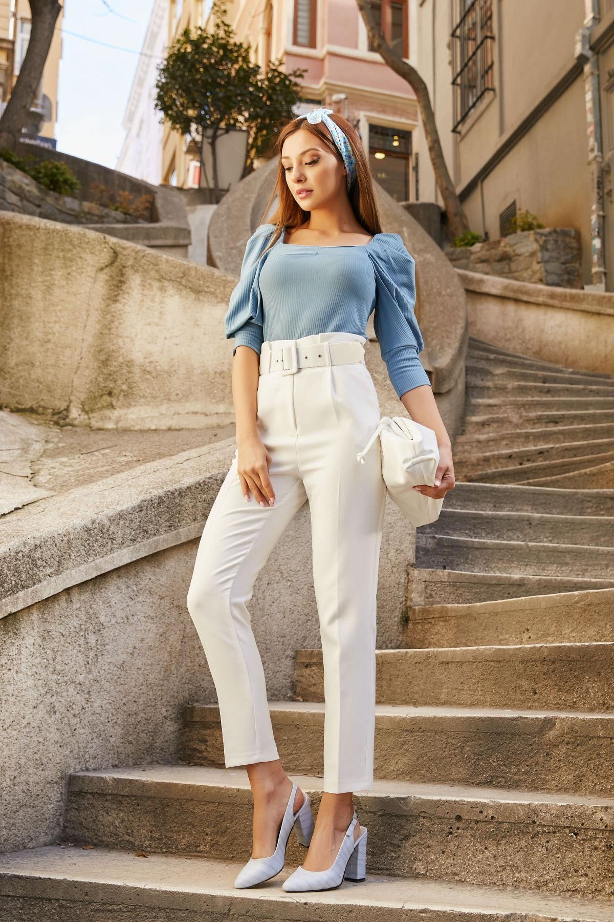 Sateen Kadın Ekru Yüksek Bel Kemerli Pantolon 1