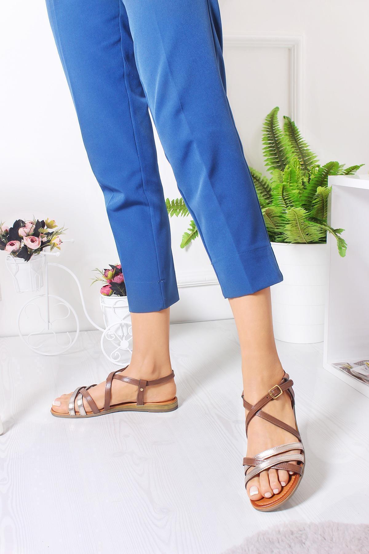 Bellacomfort Shoes Kadın Kahverengi Hakiki Deri Sütlü  Sandalet A001SK 2