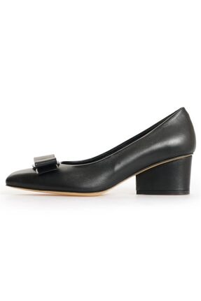 Flower Kadın Siyah Deri Fiyonk Detaylı Topuklu Ayakkabı