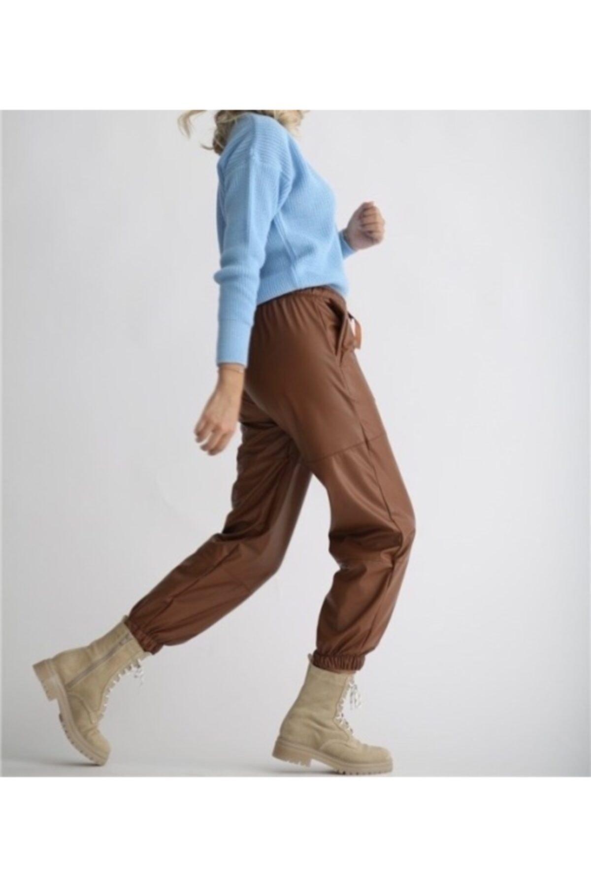BEBE PLUS Kadın Kahverengi Beli ve Paçası Lastikli Deri Pantolon 2