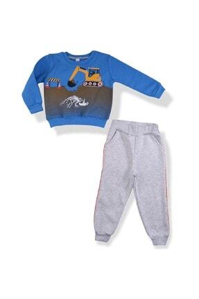 Minigo Erkek Çocuk Mavi Dozer Baskı Şardonlu Eşofman Takımı