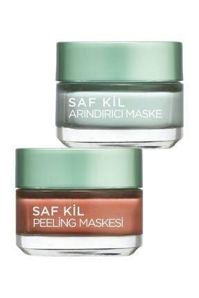 L'Oreal Paris Saf Kil Arındırıcı Maske - Pure Clay 50 Ml. + Saf Kil Peeling Maskesi - Pure Clay 50 Ml.