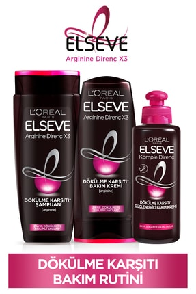 ELSEVE Arginine Direnç X3 Dökülme Karşıtı Şampuan 450ml & Saç Kremi 360 Ml & Bakım Kremi 200 Ml