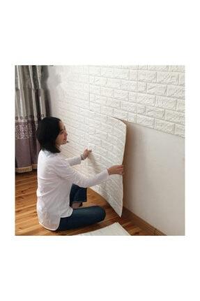 Renkli Duvarlar Nw01 Kendinden Yapışkanlı 8,5mm 70x77 Cm Sünger Beyaz Tuğla Duvar Kağıdı