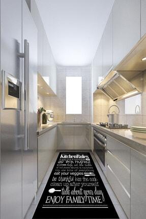 ESTA HALI Yazılı Siyah Mutfak Halısı (Makinada Yıkanabilir)
