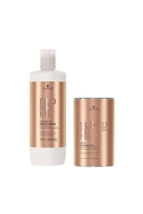 SCHWARZKOPF HAIR MASCARA Blondme Premium Lift+9 Açıcı 450 G + Oksidan %9 30 Volume 1000 Ml