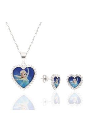 Bess Silver Kız Çocuk Gümüş Elsa Kalp Model Çocuk Kolye ve Küpe