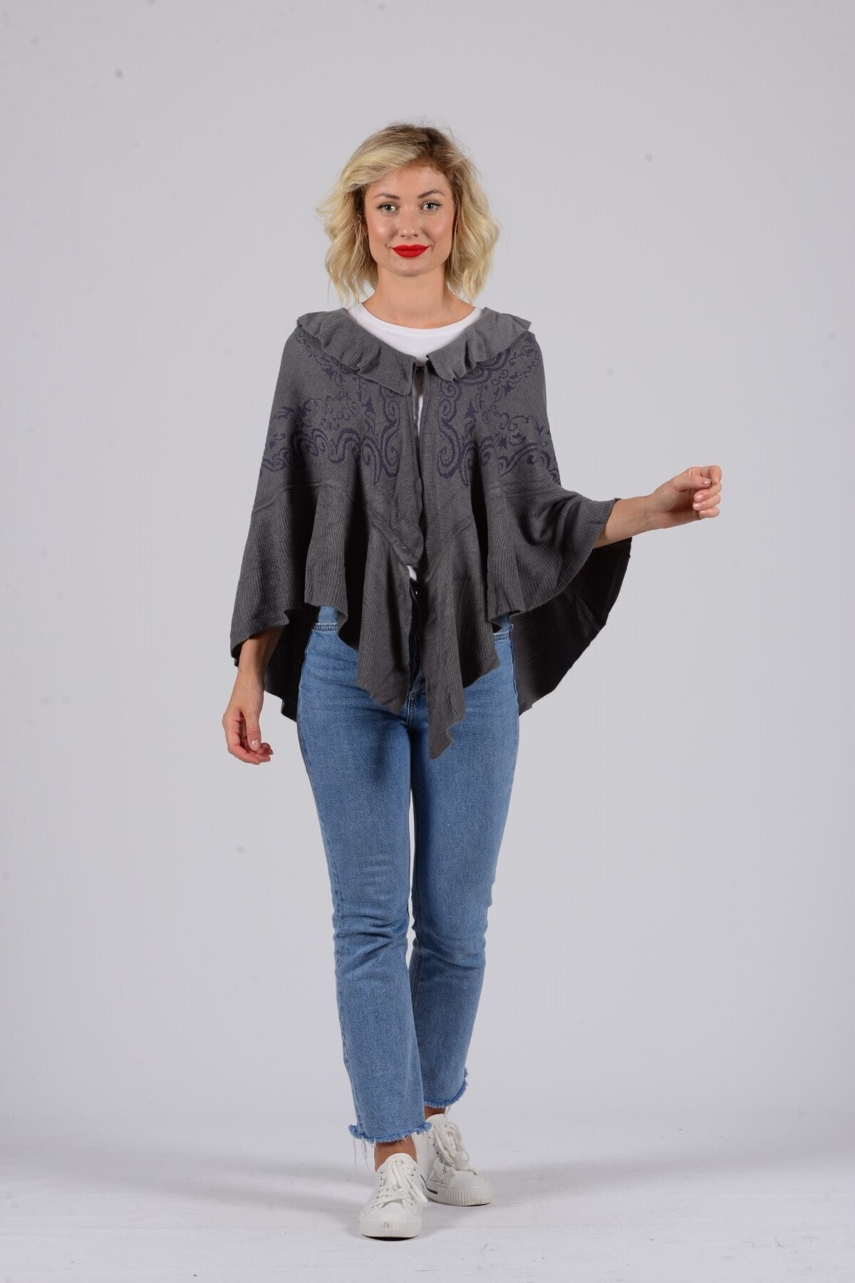 Gezgin tekstil ve aksesuar Kadın Gri Desenli Panço 1