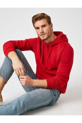 Koton Erkek Kırmızı Kapüsonlu Uzun Kollu Sweatshirt