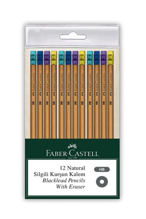 Faber Castell Faber Natural Silgili Kurşun Kalem 12li