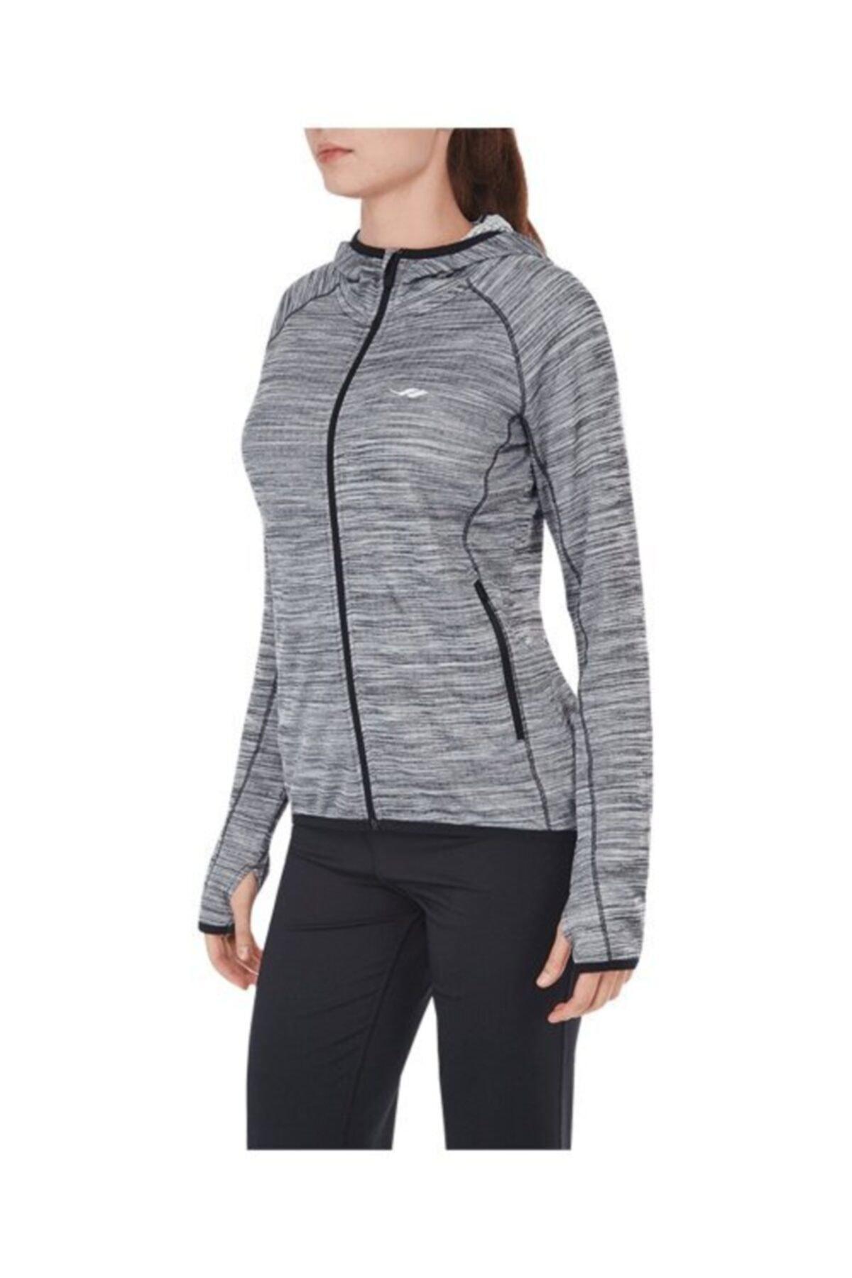 Lescon Kadın Gri Siyah Fermuarlı Sweatshirt 17n-2028 1