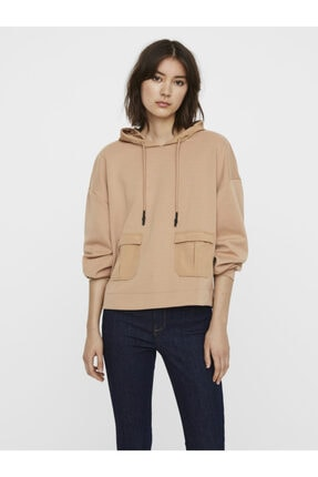 Vero Moda Kadın Ten Rengi Cep Detaylı Bol Kesim Sweatshirt 10237223 VMFAYE