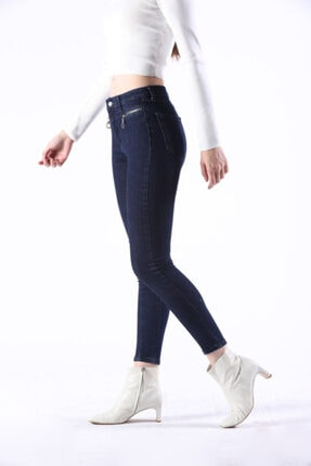 Lefon Kadın Lacivert Fermuar Detay Kot Jeans