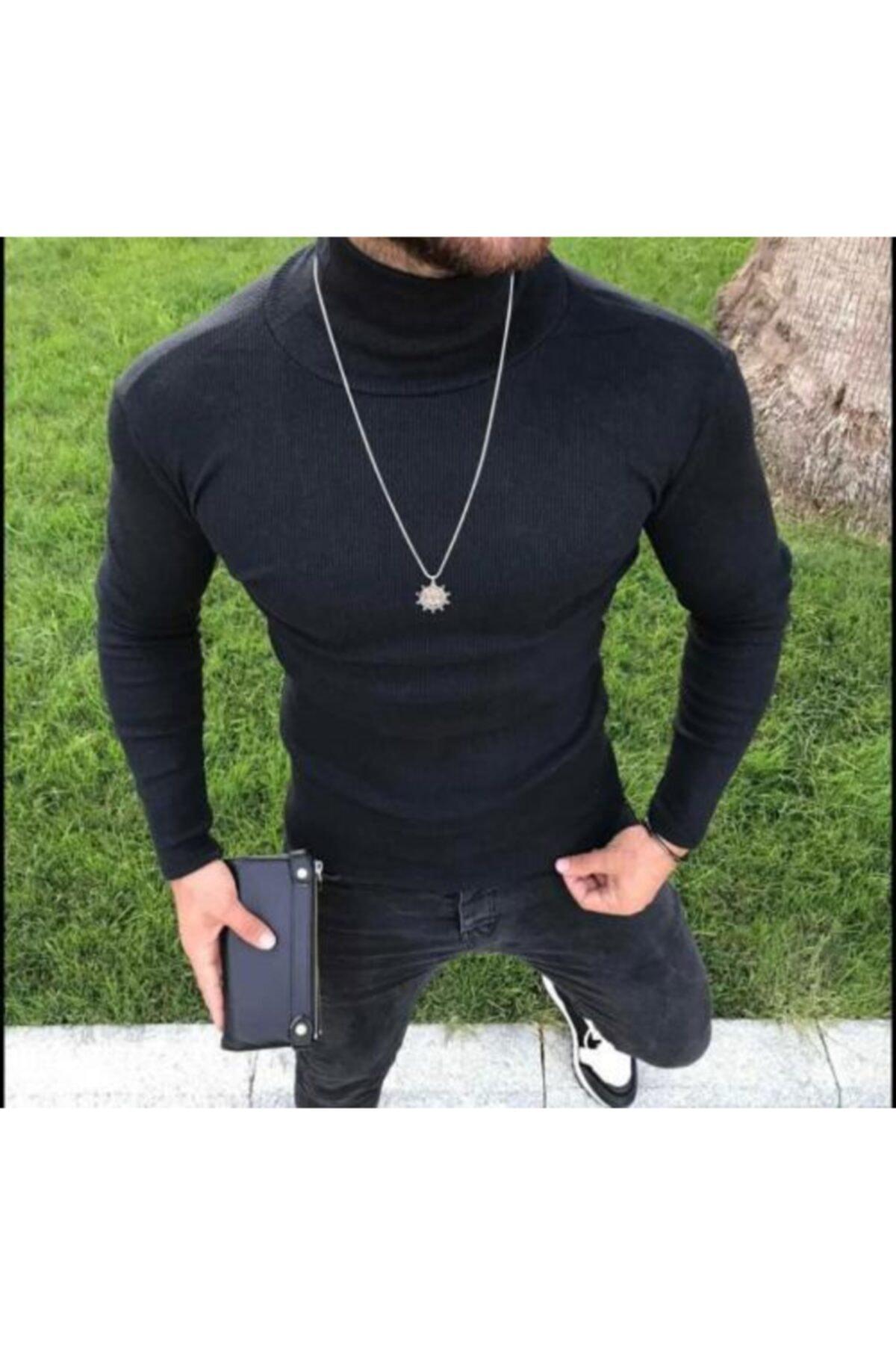 Bleu Fashion Erkek Siyah Kaşkorse Boğazlı Kazak 1